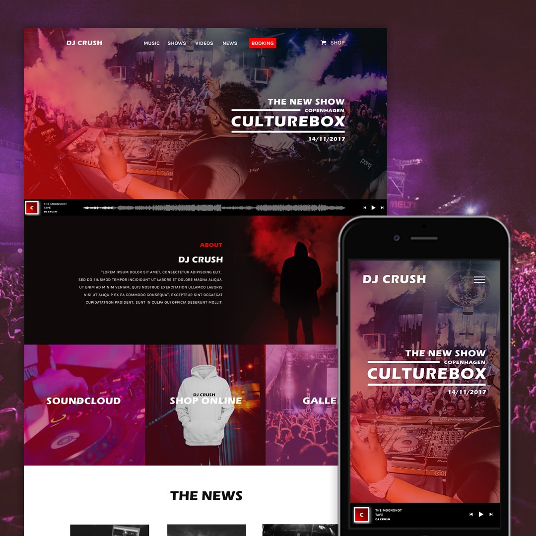 DJ CRUSH - Modern website template for musicians, artists, producers - Miloš Lacko